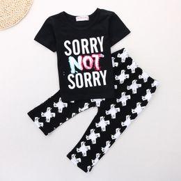 Wholesale New Kids Suits - Brand New 2017 Summer Baby Boys Clothes Sets Children T-Shirts Pant 2pcs Clothing Suit Kids Tees Shirts Black Haren Trouser
