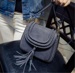 Wholesale Brown Suede Purse - 2018 Latest women Real Suede Leather Tassels Shoulder Bag Fashion Lady Small Crossbody Purse Female Flap Handbag For Grils Sac