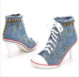 Wholesale Jeans Shoes Boots - Womens Pointed Toe Denim Jeans Rivets Ankle Boots Stilettos High Heel Studs Shoes Pumps 4Colors MYR6688
