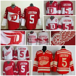 Wholesale Detroit Patch - Throwback Detroit Red Wings Jersey #5 Nicklas Lidstrom Jerseys Home Red Vintage Winter Classic Red White Men Lidstrom Hockey Jerseys C Patch