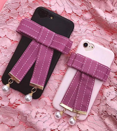 Wholesale Iphone Tie - Fashion Bowknot Beads Soft TPU Case For Iphone 7 7 Plus 6 6S Plus Bow Tie Bow-knot Rosette Heart Camera Hole Love Silicone Phone Cover Skin
