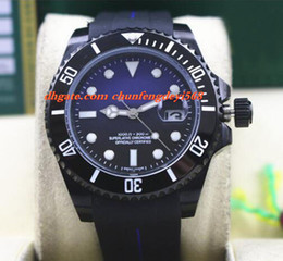 Wholesale Watch Pvd Movement - Fashion Luxury Rubber Bracelet PVD Coating CERAMIC BLACK BLUE Dial #116610 40MM Automatic Movement Men Watches New Arrival