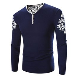 Wholesale Wholesale Mens Sweaters - Wholesale- Mens Pullover Sweater brand clothing Autumn Dress sweater Floral Warm men's pullover Clothing Plus Size M - 4XL Black Navy Wine