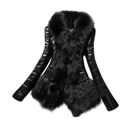 Wholesale Leather Sleeves Woman Parka - Wholesale- New Designer Women Warm Fur Collar Coat Leather Thick Jacket Overcoat Parka Large Plus Size 3XL Outwear Women basic coats