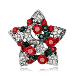 Wholesale Diamond Star Brooch - The simple diamond color gold and silver stars alloy brooch for Christmas