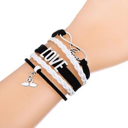 Wholesale Cat Love Couples - Infinity Love A couple of Mandarin Duck & Cat Person Charm Bracelet Wax Cords Wrap Braided Leather Adjustable Bracelet