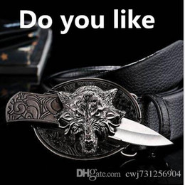 Wholesale Girl Knives - new Fashion Men's Knife self-defense stainless steel oval new Europe animal real Cowhide Leather Belts Luxury men Belts High Quality be