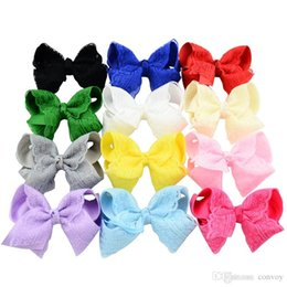 Wholesale hair clips bow lace - Baby Bow Hairpins Grosgrain Ribbon Boutique Bows with Clip Baby Girls Grosgrain Ribbon Lace Bow Clips Barrette Kids Hair Accessories KFJ104