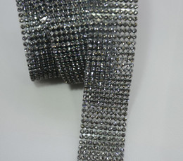 Wholesale Princess Cut Wedding - Free Shipping 5 Rows hotfix Rhinestone Mesh Trim Black Diamond Crystal in black Base for Bridal Dress,Cake,Wine and Wedding
