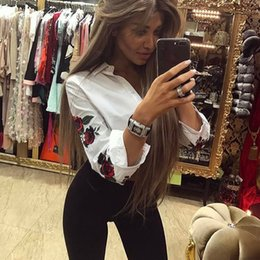 Wholesale Lantern Sleeve Blouse - 2017 Charming Floral Printed Embroidery Button Blouse Lapel Neck Long Lantern Sleeve Shirt Novelty Russian Women Tops Plus Size