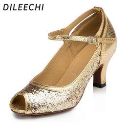 Wholesale Glitter Latin Dance Shoes - TOP Sneakers DILEECHI Gold glitter paillette Women's Latin dance shoes Salsa Party Wedding Square dance shoes 6cm heels