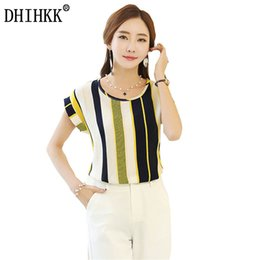Wholesale Stripe Shirt Plus - DHIHKK 2017 New Stripe Print Women Blouses Ladies Shirts Summer Short Sleeve Shirt Casual Plus Size blusas female Tops
