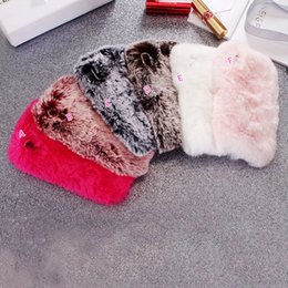 Wholesale Rabbit Skin Fur - Fur Soft TPU Case For iPhone X 5.8'' Fashion Genuine Rabbit Hair Cute Lovely Fluffy Diamond Cover Girl Silicone Shell Skin Rose Gold