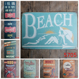 Wholesale Vintage Beach Painting - Beach BBQ home Music Vintage Craft Tin Sign Retro Metal Poster Bar Pub Signs Wall Art Sticker(Mixed designs)