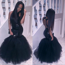 Wholesale Girls Pageant Sparkly Dresses - Sparkly Black Girls Mermaid African Prom Dresses 2017 Halter Neck Sequins Tulle Sexy Corset Formal Dress Cheap Party Pageant Gowns