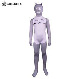 Wholesale Totoro Halloween Costume - Kids My Neighbor Totoro Cosplay Costume Children Gray Lycra Spandex Full Bodysuit Child Halloween Zentai Catsuit Costume