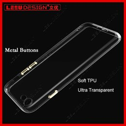 Wholesale Iphone Silicone Case Metal Button - 2017 New iPhone 7 Transparent soft Case Metal Buttons Dust-plug Hybrid Clear TPU Silicone back Cover For iphone7plus 6S 6 plus
