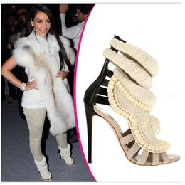 Wholesale Ankle Wrap Boots - Summer Style New Kanye West Calf Leather Embroidered Pearl Women Sandals Boots Ankle Wrap High Heels Quality Shoes Woman
