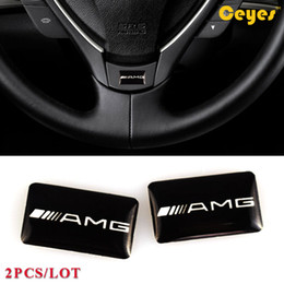 Wholesale Decoration Label - Fashion Car Plastic Drop Sticker for Mercedes Benz AMG Personality Labels Logo Brand Auto Decorations Accessories Car Styling 2pcs Lot