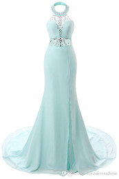 Wholesale Sexy Aqua Prom Dresses - 2017 New Aqua Sexy Halter Crystal Prom Dresses Sheer Beaded Backless Mermaid Long Prom Evening Gowns Split Arabic Party Dresses