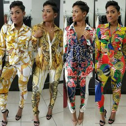 Wholesale Casual Jumpsuit Women - Two Piece Outfits For Women Autumn Fall Floral Print Long Sleeve Blouse Shirt + Bodycon Long Pants Jumpsuits