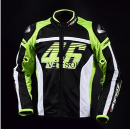 Wholesale Man Suit Motorcycle - Motorcycle mesh fabric VR46 Quick Dry fabric Jacket Racing Suits with Armors Riding Clothes with 5pcs pads