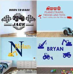 Wholesale Named Wall Stickers - Personalised Truck Wall Sticker for Any Kids Name Monster Children Vinyl Decal decor sticker Free Shipping