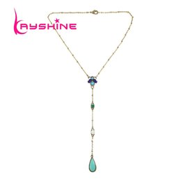 Wholesale Turquoise Gold Party Decorations - Boho Jewelry Long Gold Chain with Blue Beads Turquoise Decoration Water Drop Pendant Maxi Necklace From India For Women Bijoux