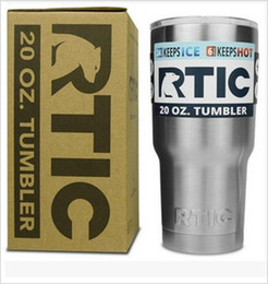 Wholesale Double Wall Bottle - RTIC Stainless Steel Cup Travel Car Mug Tumbler Cup Thermal Insulated Cups Cooler Double Wall Vacuum Drink Water Bottle High Copy 20oz BB
