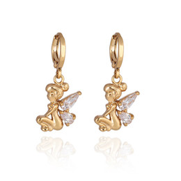 Wholesale Fairy Earrings Studs - Top Sale New Earrings 18K Yellow Gold Plate Clear Cubic Zircon Angle Hoop Earrings Fairy Earring Clips for Women