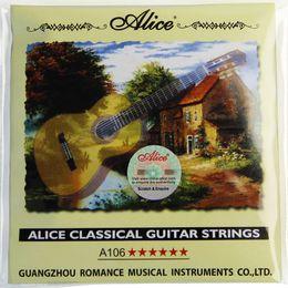 Cuerdas de guitarra clásica online-NUEVAS cuerdas de guitarra clásica A106 / Clear Nylon cuerdas de Alice