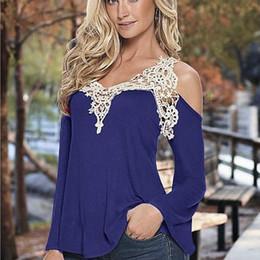 Wholesale Lace Casual Loose Tops - Wholesale- Women tops 2016 long sleeve casual loose t shirt women off shoulder lace patchwork t-shirt tops HFF521