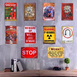 Wholesale Wholesale Man Cave - Wholesale- Shabby chic Metal Tin Signs Pin up Girl Garage Warning signs Hot Road Man Cave Restaurant Coffee Craft Wall Painting Decor