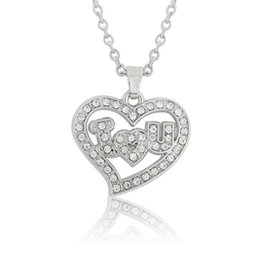 Wholesale I Love Romantic - Fashion Simple Design Silver Plated I Love You Necklace Pendant for Women Teen Girls Heart Shaped Engraved Jewelry Romantic Gift