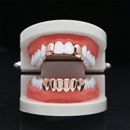 Wholesale Mouth Set - Hip Hop Rose Plated Custom Mouth Grillz Set 2pcs Single Top & 6 teeth Bottom set gold grills