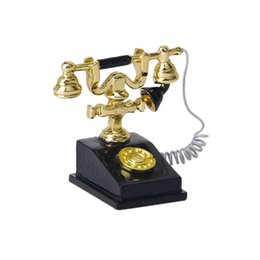 Wholesale Metal Dollhouses - Wholesale- 1 12 dollhouse miniature retro phone vintage phone