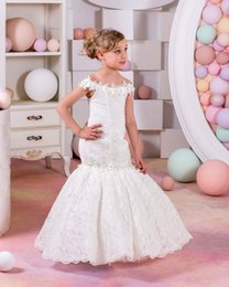 Wholesale Mermaid Wedding Dresses Feathers - Pretty Champagne Lace Flower Girls Dresses Mermaid Off Shoulder Ruffles Puffy Tulle Capped Sleeves First Communion Pageant Gowns for Kids