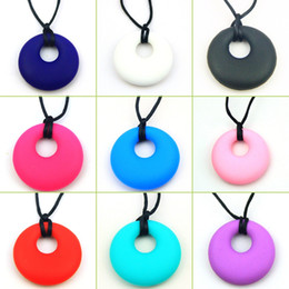 Wholesale Necklace Nurse - 9 Pcs Circle Food Grade Silicone Teething Pendant Nursing Jewelry For Baby Teether Chew Molars Necklaces Accessories