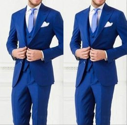 Wholesale Men Double Breasted Suits - 2017 Newest Royal Blue Wedding Groom Wear Men Slim Fit Mens Wedding Tuxedos Designer Mens Suits (Vest+Pants+Vest)