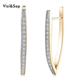 Wholesale Wedding Jewelry Champagne Color - Visisap V Shape Shining Cubic Zirconia Hoop Earrings For Women Girls Gifts Earring Fashion Jewelry Champagne Gold Color
