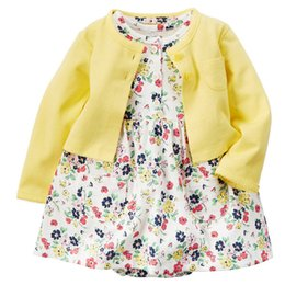 Wholesale Kids Toddler Clothing - Wholesale- 1 Set Yellowe Floral Cotton Baby Girl Dress Newborn Children Kid Infant Princess Summer Flower Toddler Cardigan Wear Clothes