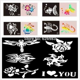 Wholesale Glitter Body Paint Stencils - Wholesale-50pcs lot Temporary Glitter Tattoo Stencil- Airbrush Mixed Tattoo Templates Designs For Body Art Paint Free Shipping