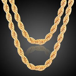 Wholesale gold rope chain necklace solid - Solid Rope Twisted Chain Hip Hop Twisted Link Necklace 18K Gold Twist Chains Necklace 60cm*8mm Women 18K Gold Plated Cuban Link Chain