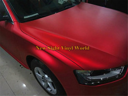 Wholesale Red Chrome Vinyl - High Quality Matte Satin Chrome Red Vinyl Car Wrap Film Foil Bubble Free For Car Wrapping