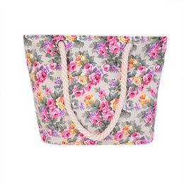 Wholesale School Bag Carrier - Outdoor leisure fashion women beach bag floral patterns woman large totes popular single shoulder girls school carrier bag