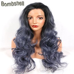 Wholesale Wig Blue Grey - Bombshell Black Ombre Dark Blue Grey Body Wave Synthetic Lace Front Wig High Temperature Heat Resistant For Black White Women
