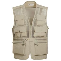 Wholesale Vest Pocket Camera - Wholesale- Men's Multi-pockets Vest for Shooting Mesh Photography Camera Vest Causal Travel Shooting Vests Size XL-5XL