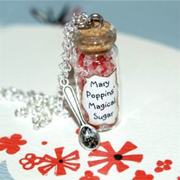 Wholesale Mary Gifts - 12pcs MARY POPPINS Spoonful of Magical Sugar glass Bottle Necklace with a Spoon Charm Inspired necklace