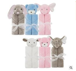 Wholesale Red Fleece Blankets - Blankets Christmas Gifts Rabbit Bear Elephant Plush Baby Bedding Coral Fleece Animal Toy Head Blanket Baby Blankets 76*76cm Free Shipping