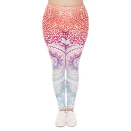 Wholesale Plus Size American Leggings - Girl Leggings Aztec Round 3D Graphic Print Lady Skinny Stretchy Pants Women Casual Trousers Plus Size Fits L XL XXL Free Shipping (J45739)